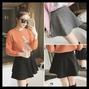 Rok Celana Flare Skirt A Line Cotton Rok Korea Import Bawahan Wanita