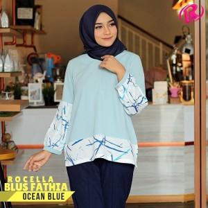 S-XL Original Rocella Blus Fathia Atasan Muslimah - Ocean Blue