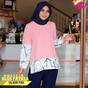 S-XL Original Rocella Blus Fathia Atasan Muslimah - Salmon Pink