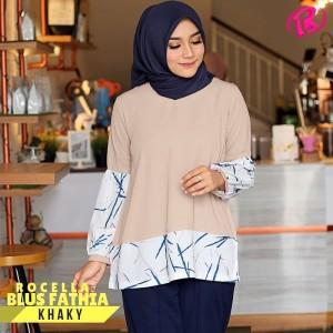 S-XL Original Rocella Blus Fathia Atasan Muslimah - Khaki