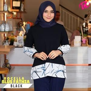 S-XL Original Rocella Blus Fathia Atasan Muslimah - Black