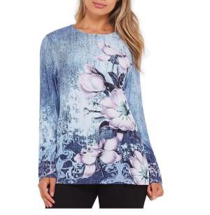 Kaos Lengan Panjang Floral Kim Rogers Pakaian Wanita Original Murah