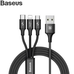 Baseus Rapid Series 3 in 1 Micro USB +Lightning+Type-C 3A 1.2M - Hitam