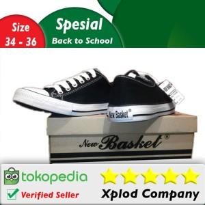 Ukuran 34–36 Sepatu Sekolah New Basket Model Pendek Hitam Putih Anak