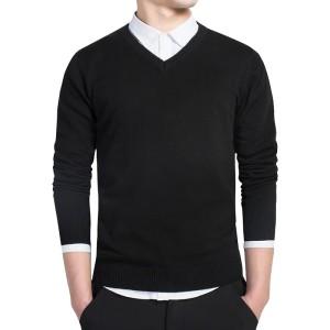 Sweater Rajut Polos/ Sweater V-Neck / Basic / simple - Hitam, M