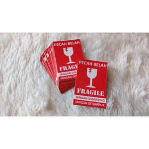 Stiker Fragile Bahan Vinyl Anti Air Ukuran 10 cm x 5 cm