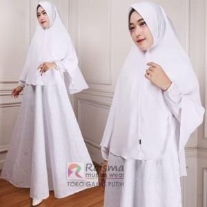 Gamis Putih Wanita / Baju Gamis Putih Syari / Gamis Putih Untuk Umroh