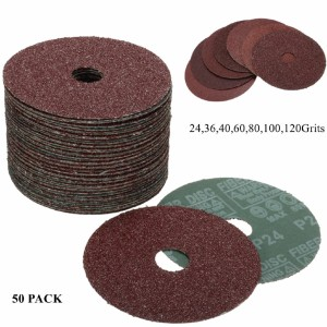 "50 Pack 5/"" Black Hawk 24 Grit A//O Resin Fiber Disc Grinding /& Sanding Discs"