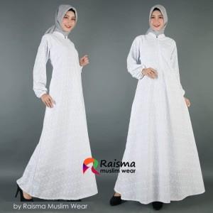 Gamis Putih Untuk Umroh Dan Haji, Gamis Putih Katun Jepang Motif Timbu