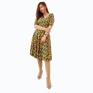Dress Wanita Motif kuning Sonoma Pakaian Branded Original Murah