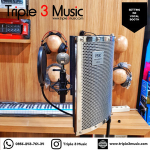 Paket Vocal booth ISK RF9 With Stand & Filter Triple 3 music