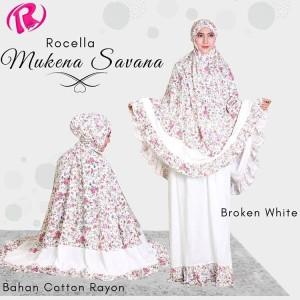Jual Rocella Mukena Savana Mukena Katun Rayon Motif Bunga-Broken White