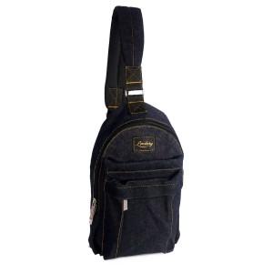 Lomberg Shoulder Black - Tas Punggung Denim - Hitam