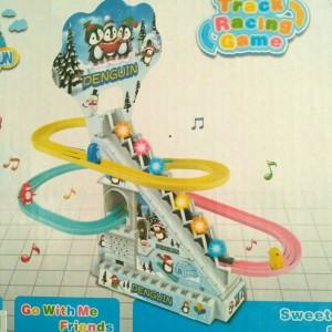 Mainan roller coaster trek kereta music track seluncuran pinguin