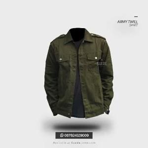 Army Twill Shirt | Jaket Kemeja Denim Look Cotton Twill Olive Green