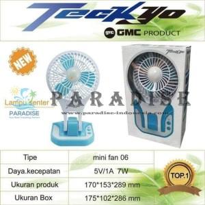 MINI FAN KIPAS MINI PORTABLE GMC TECKYO 06 LED LIGHT + POWER BANK