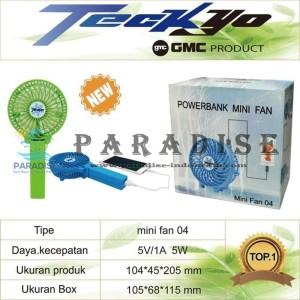 MINI FAN KIPAS MINI PORTABLE GMC TECKYO 04 + LAMPU + POWER BANK