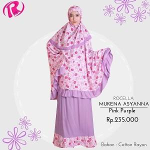 Terbaru Rocella Mukena Asyanna Mukena Rayon Motif - Pink Purple