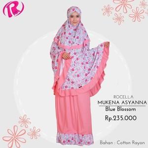 Terbaru Rocella Mukena Asyanna Mukena Rayon Motif Bunga - Blue Blossom
