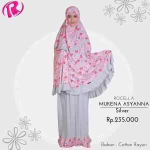 Terbaru Rocella Mukena Asyanna Mukena Rayon Motif Bunga - Silver