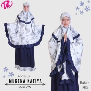 Terbaru Rocella Mukena Kafiya Mukena Cantik Motif Bunga - Navy