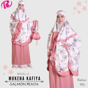 Terbaru Rocella Mukena Kafiya Mukena Cantik Motif Bunga - Salmon Peach