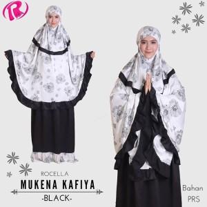 Terbaru Rocella Mukena Kafiya Mukena Cantik Motif Bunga - Black
