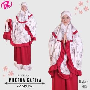Terbaru Rocella Mukena Kafiya Mukena Motif Bunga Cantik - Maroon