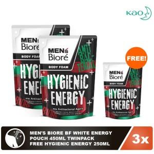 Men'S Biore Body Foam Hygienic Energy Pouch 450mL Twinpack FREE 250mL
