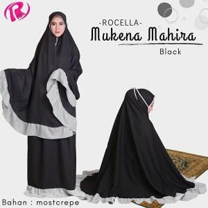 NEW Rocella Mukena Mahira Mukena Polos List Warna Cantik - Black