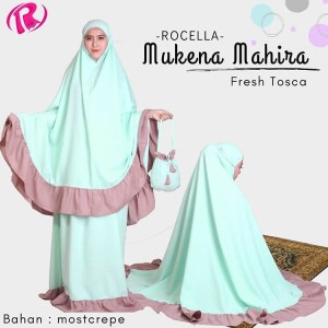 NEW Rocella Mukena Mahira Mukena Polos List Warna Cantik - Fresh Tosca