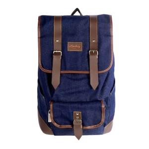 Lomberg Malacca Navy - Tas Denim Ransel Backpack - Biru Tua