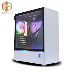 CUBE GAMING KLASSIS WHITE - SIDE TEMPERED GLASS