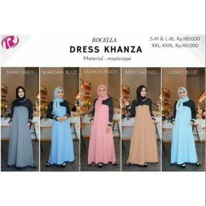 [XXL-3XL] Original Rocella Dress Khanza Gamis Polos Warna Pastel Bagus