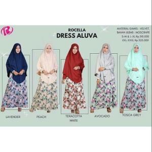 [S-XL] Terbaru Rocella Dress Aluva Gamis Set Khimar Fashion Muslimah