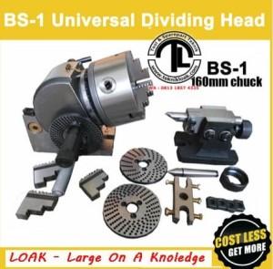 Universal Dividing Head 160mm 3jaw Chuck BS-1 Pembagi Roda Gigi-Sier