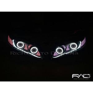 Custom headlamp Angel eyes+Drl Crystal+rainbow ledbar Honda Odyssey