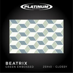 Platinum Ceramics - BEATRIX GREEN EMBOSSED - 25X40cm - Glossy - F.D.