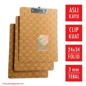 Clip Board Clipboard Papan Jalan Alas Ujian Folio F4 Kayu Asli Tebal