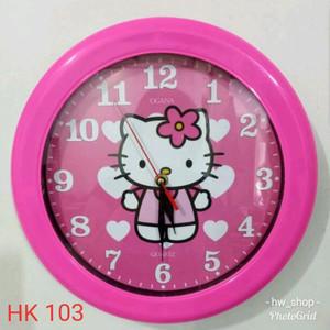 Jam Dinding Hello kitty Diameter 30 cm . Jam Dinding Berkwalitas