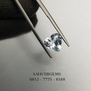 SG-083 PERFECT HEART BRILLIANT CUT AQUAMARINE (HOT ITEM )+CERTIFICATE