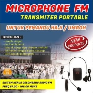 Paket lengkap 2 Mic pemandu tour wireless Fm Transmiter Radio FM