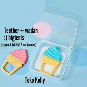 Teether Bayi + Wadah - Bentuk Es Krim Import