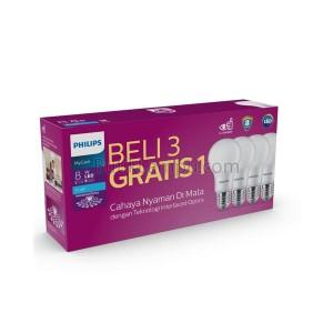 Paket 3 Gratis 1 Lampu LED Bulb Philips Multipack MyCare 8 Watt 8W