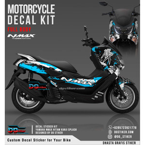 Decal Striping Nmax Hitam Biru Kanji Splash DG Stiker