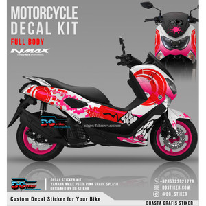Decal Striping Nmax Putih Pink Shark Splash DG Stiker