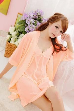 Kimono Satin Sleepwear Pakaian Dalam 8019584 Peach