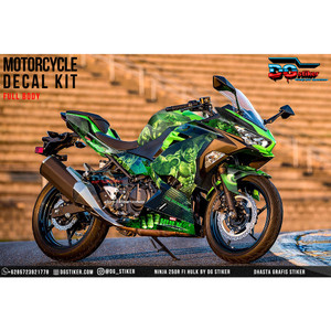 Decal Sticker All New Ninja 250R FI Hitam Hijau Hulk DG Stiker
