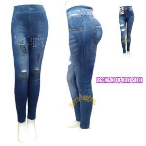 Jual Celana Legging Import Motif Jeans Sobek Navy Jakarta Utara Zahra Leging Tokopedia