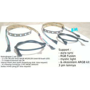 Jual 1 set ARGB LED Strip 2 Extension connector 3 pin support aura sync dll  - var A - Kota Surabaya - BMstr   Tokopedia
